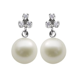 Pearls For You 10k White Gold Freshwater Pearl and Diamond Accent Earrings (7-7.5 mm) (L-M, I3)