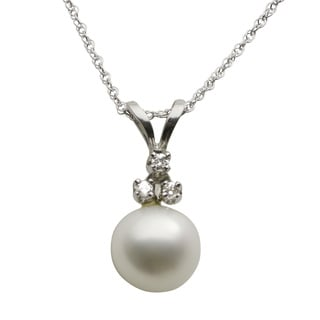Pearls For You 10k White Freshwater Pearl and Diamond Accent Necklace (7-7.5 mm) (L-M, I3)