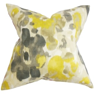 Delyne Floral Yellow Feather Filled 18-inch Throw Pillow