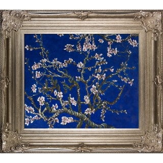 Vincent Van Gogh 'Branches Of An Almond Tree In Blossom (Sapphire Blue)' Hand Painted Framed Canvas Art