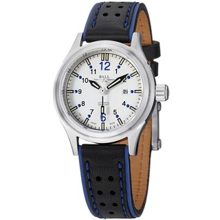 Ball Women's NL1088C-LJ-WHBE 'Fireman' Silver Dial Black/Blue Leather Strap Watch