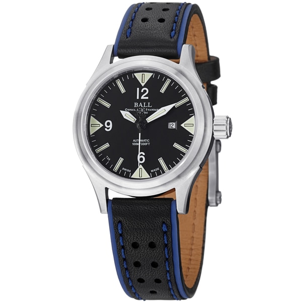 Ball Women's NL2088D-LJ-BKWH 'Fireman II' Black Dial Black/Blue Leather Strap Watch