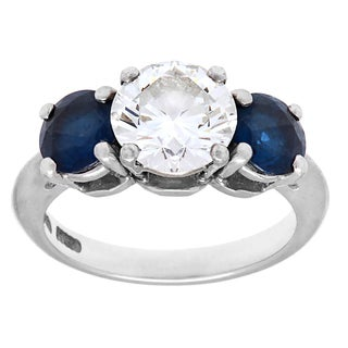 Tiffany & Co. Platinum 1 4/5ct TDW Diamond 3-stone Sapphire Estate Ring (H-I, VS1-VS2)