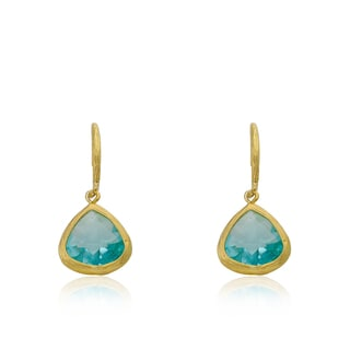 Riccova Arctic Mist 14k Yellow Goldplated Aqua Dangle Earrings