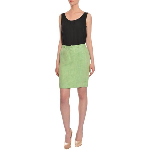 Cynthia Rowley Women's Crisp Green Linen Patch Pocket Skirt