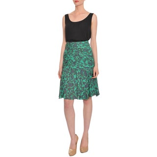 Escada Women's Green Print Ruched Silk Evening Skirt