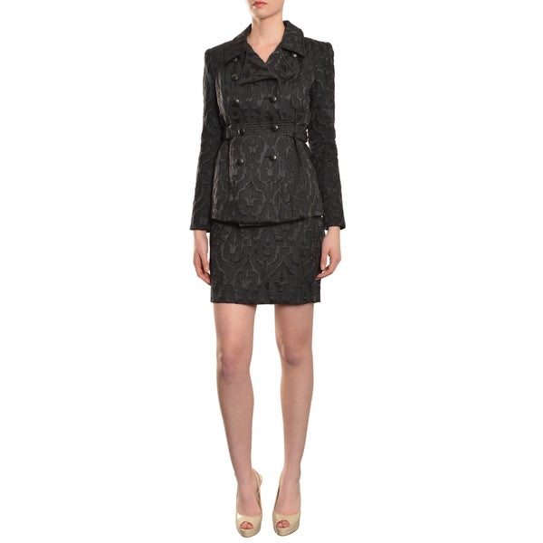 Cynthia Rowley Women's Versatile Brocade Double Breasted Jacket Skirt Suit