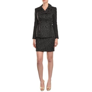 Cynthia Rowley Women's Brocade Print Double Breasted Jacket/ Skirt Suit