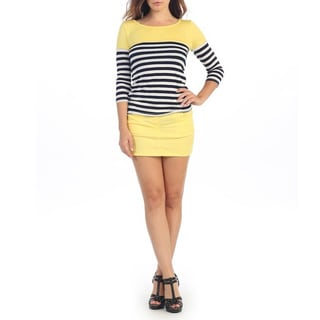 Hadari Women's Yellow Stripe 3/4-length Sleeve Top