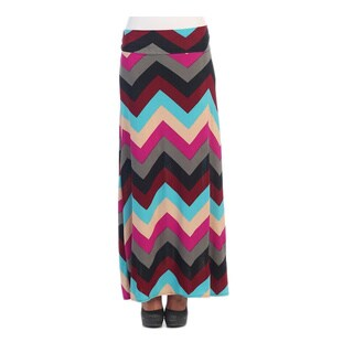 Hadari Cheveron Women's Zig-zag Royal and Fuchsia Maxi Sk