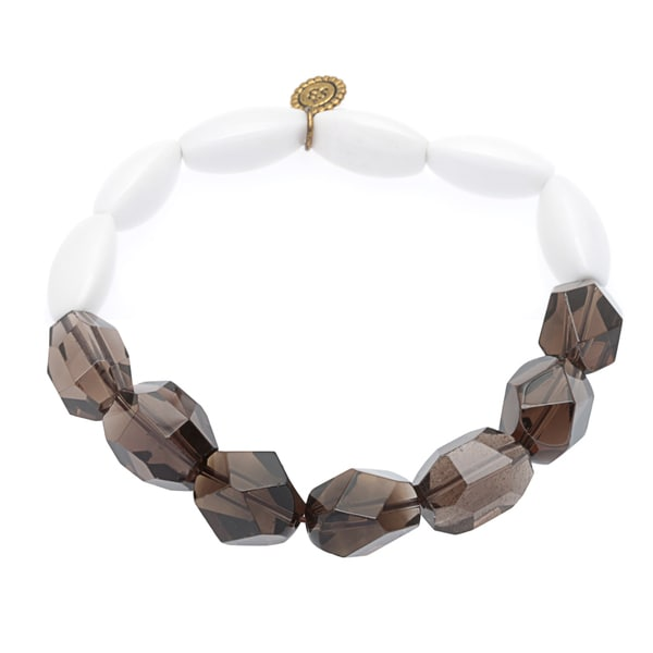 Stretch Darcy White Agate, Smokey Quartz Textured Bracelet