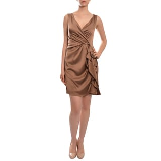 Christian Siriano Women's Chocolate Silk Sleeveles Cocktail Dress