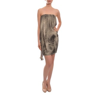 Cynthia Steffe Women's Animal Print Silk Asymmetric Cocktail Party Evening Dress