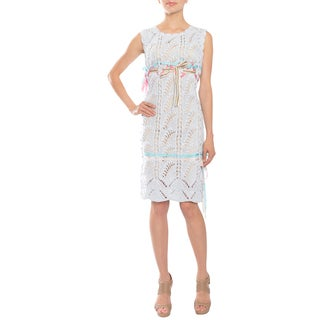 Cynthia Rowley Women's Blue Popcorn-knit Ribbon Accent Party Dress