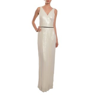 Diane Von Furstenberg Women's 'Yazhi' White Silk Sequined Evening Gown