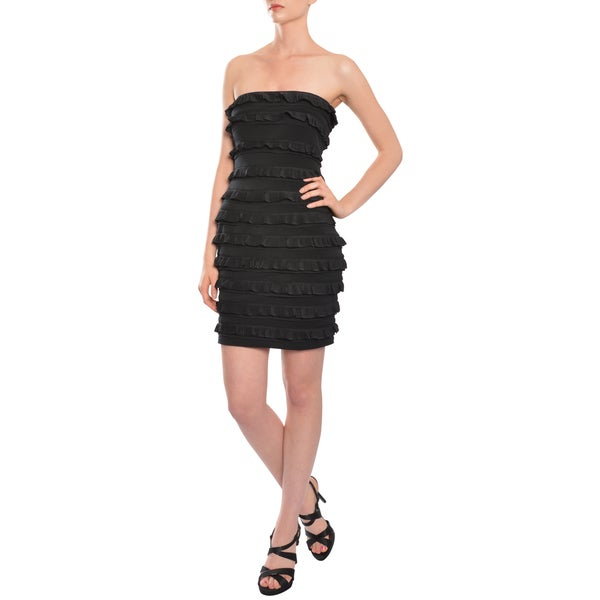 Elizabeth And James Women's Black Fitted Vivienne Tiered Ruffle Strapless Cocktail LBD Dress