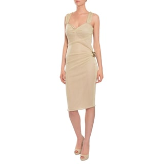 Emanuel Ungaro Women's Gold Butterfly Cocktail Evening Dress