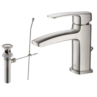 Rivuss Ebro Lead-Free Solid Brass Single-Lever Bathroom Faucet Brushed Nickel Finish with Pull-Out Drain