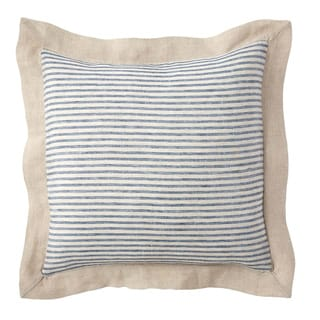 Steel Blue Stripe Linen Euro Sham