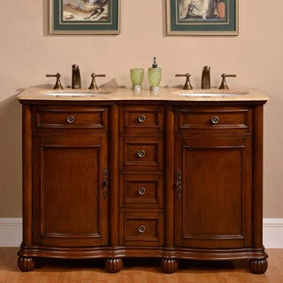 Silkroad Exclusive 52-inch Travertine Stone Top Bathroom Double Sink Vanity