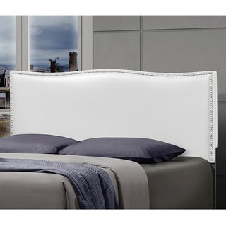 White Leather Queen Size Curved Hailhead-design Headboard