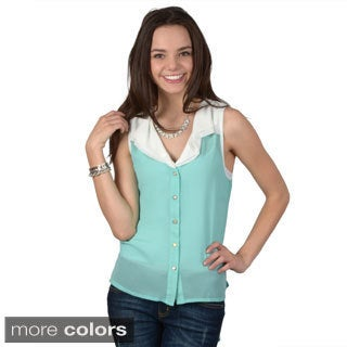Hailey Jeans Co. Junior's Sleeveless Button-up Sheer Top