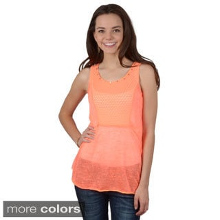 Journee Collection Junior's Lightweight Stud Detail SleevelessTop