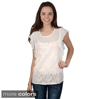 Hailey Jeans Co. Junior's Lightweight Lace Detail Top