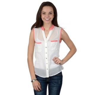 Hailey Jeans Co. Junior's Sleeveless V-neck Sheer Top