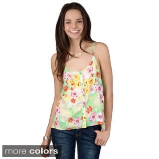 Hailey Jeans Co. Junior's Racerback Button-up Tank Top