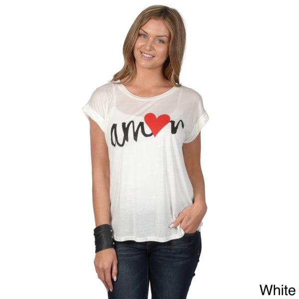 Hailey Jeans Co. Junior's Amor Print Hi-lo Hem Tee