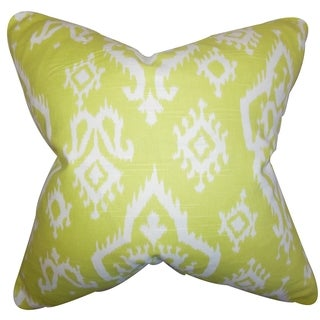 Ishaq Ikat Green Feather Filled 18-inch Throw Pillow