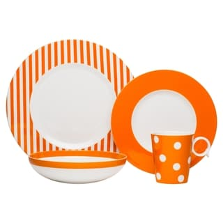 Red Vanilla Freshness Mix & Match Orange 4-piece Place Setting