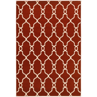 LNR Home Adana Orange/ Cream Geometric Area Rug (7'9 x 9'9)