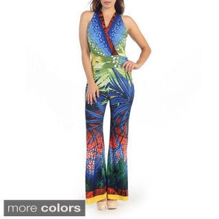 Women's Tropical Print Halter V-neck Jumpsuit