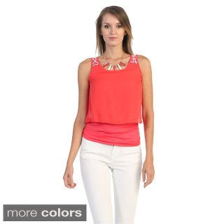 Hadari Women's Sleeveless Top with Bib Necklace