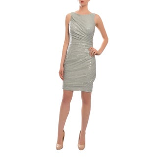 Carmen Marc Valvo Silver Allover Sequins Ruched Lace Dress
