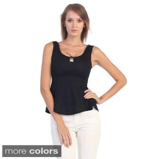 Hadari Women's Sleeveless Peplum Top with Pendant Necklac