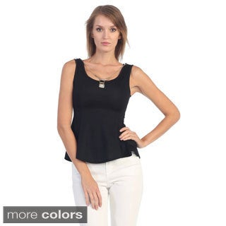 Hadari Women's Sleeveless Peplum Top with Pendant Necklac