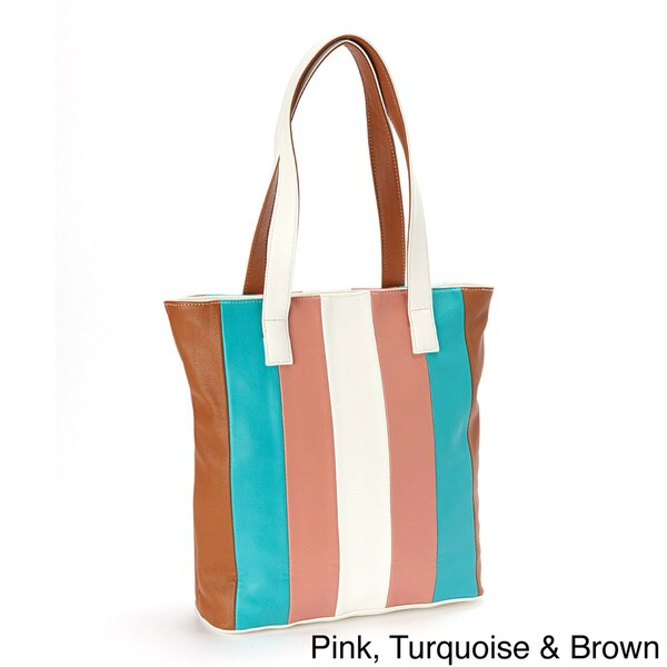 Multicolor Striped Leather Tote Bag