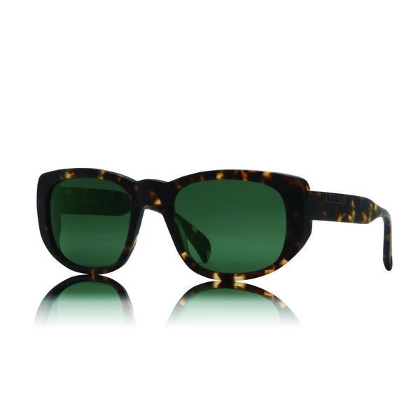 Raen Flyte Brindle Tortoise Sunglasses with Green Lenses