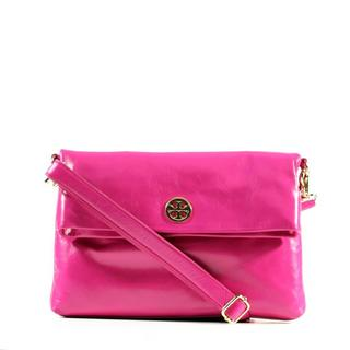 Tory Burch Dena Messenger Leather Shoulder Bag in Magenta