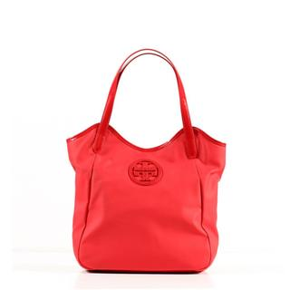 Tory Burch Dipped Canvas Stacked NS Tote in Berry Red