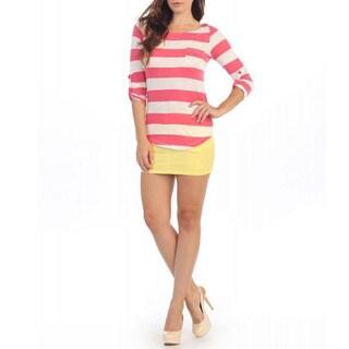 Hadari Women's Pink and White Striped 3/4-sleeve Top