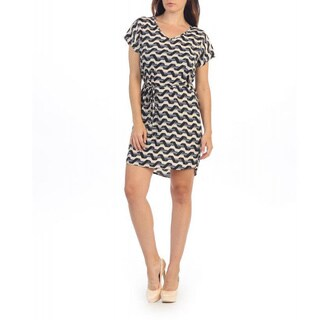 Hadari Women's Ribbon Stripe Print Dolman Dress