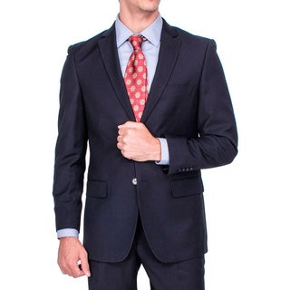 Men's Modern Fit Black Tonal Striped 2-button Suit