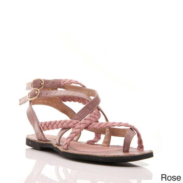 Gomax Women's 'Grecian 26' Braided Toe Ring Double Buckled Sandals