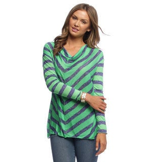 24/7 Comfort Apparel Women's Multi-print Long Sleeve Top