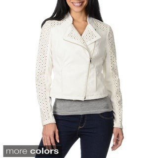 Steve Madden Women's Leatherette Laser Cut Jacket