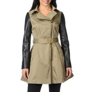 Bebe Women's Light Olive Leatherette Sleeve Trench Coat